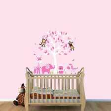 Animals & Tree Wall Stickers, Girls Room Wall Art, Jungle Decals, Wall Tree Art