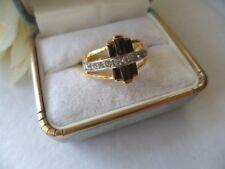 Vintage Art Deco Jewellery Gold Ring Sapphire Black White Stones Antique Jewelry