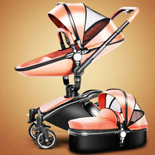 Baby stroller 3 in 1 leather Carriage Infant Travel Car Foldable Pram pushchair