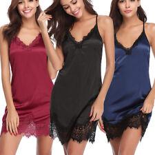 Women Sexy Lingerie Satin Nightgown Lace Chemise Strap Slip Sleepwear Dress US