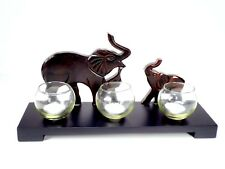 Candlestick with 3 Glass Bowls Elephant Ornament Home Decor Christmas Gift