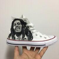 Converse All Star Bob Marley Classiche [Dipinte a Mano Personalizzate] Scarpe Di