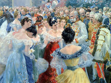 Oil painting Gause Wilhelm The State Ball portraits men with women no framed art