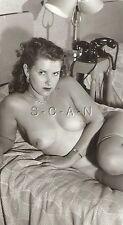 Original Vintage 1940s-60s Nude RP- Endowed Woman on Bed- Watch- Two Telephones