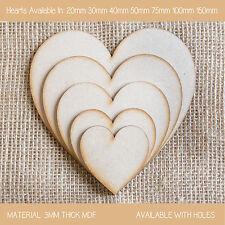 Wooden MDF Xmas Hearts Shape 3mm MDF Craft Shape Tags Embellishments Decoration