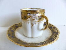 SUPERB ANTIQUE LIMOGES PORCELAIN CUP & SAUCER w. GOLD 1890's ( 6 AVAIL )