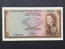 Malta 1 Pound P26a Signed Soler QE2 Issued 1963 (law 1949) EF+ aUNC