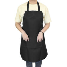 BLACK WITH 2 POCKET PLAIN APRON FOR CHEFS BUTCHERS KITCHEN COOKING BAKING