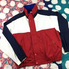 Vintage Mens Nautical Gear Jacket Red White Blue Color Block Zip Up Mock Neck L