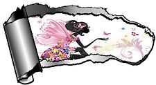 Ripped Open GASH Torn Metal with Beautiful Fairy & Butterflies Car Sticker Decal