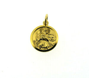 St. Christopher pendant charm solid 9Carat 9ct yellow gold small round