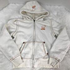 ROCIO VERDE Ivory Cream Hoodie Zip Up Hooded Fleece Sweatshirt Sweater Sz Large