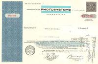 Photosystems Corporation > 1971 New York share stock certificate