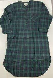 New The Vermont Country Store Blue Plaid Nightshirt Size Men's Medium Cotton