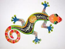 "18"" Metal Gecko Lizard Wall Art Tropical Patio Garden Home Decor Haitian Art"