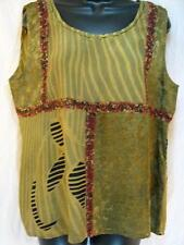 T388~TIENDA HO~Dk Golden~FANCY TANK TOP~Nothing Matches~RAYON~floral~STUNNING~OS