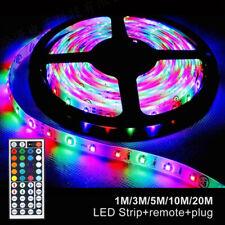 LED Streifen 1-20M Lichterkette Beleuchtung Partylicht Strip RGB LED Stripe Band