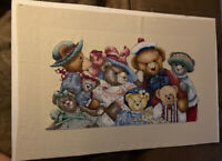 """Finished Cross Stitch Teddy Bear Family Picture 13.25x6.75"""""""