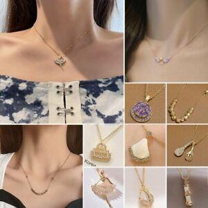 Titanium Steel Zircon Ballet Girl Wings Pendant Necklace Clavicle Women Jewelry