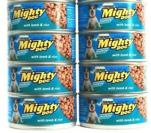 8 Cans Purina 5.5 Oz Mighty Dog Protein Packed With Lamb & Rice Wet Dog Food