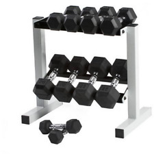 CAP 150 lb Rubber Hex Dumbbell Weight Set, 5-25 lb with Rack FREE SHIP from USA