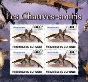 BATS Grey Long-Eared Bat Stamp Sheet #4 of 5 (2011 Burundi)