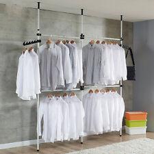Heavy Duty Adjustable Garment Rack DIY Coat Hanger Clothes Wardrobe 3 Pole 4 Bar