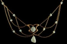 Charles Crossman & Co Art Nouveau 14k Gold Pearl Lavalier Festoon Style Necklace