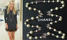 "CHANEL 2018 WHITE PEARL 5 CRYSTAL CC TOP CLASSIC 42"" LONG DRESS NECKLACE NWT"