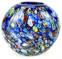 Murano Millefiori Art Glass Vase Hand Blown Cobalt Blue Glitter Pulled Canes 4#