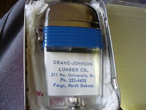 SCRIPTO VU-LIGHTER  CRANE-JOHNSON LUMBER  BLUE BAND  MIB WITH PAPERS