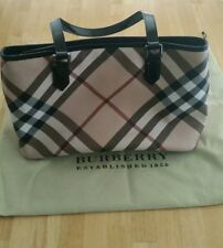Burberry HandBag Nova Check PVC/Patent Leather Beige/Black Zip Shoulder Purse