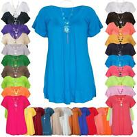 Ladies Gypsy Frill Necklace Swing Flared Tunic Tops Womens V Neck Summer T-Shirt