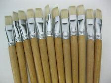 12pcs ARTIST BRUSHES WHITE BRISTLE HAIR OIL/ACRYLIC BRUSHES #22