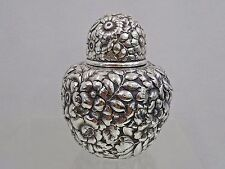STUNNING ANTIQUE AMERICAN  W&H STERLING SILVER REPOUSSE HAND CHASED TEA CADDY