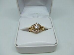 14k yellow gold diamond wedding ring set size 6
