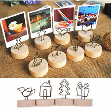 Creative Round Wooden Wrought Iron Message Photo Memo Name Card Clip Note Holder
