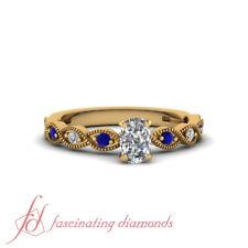 1 Carat Cushion Cut Diamond And Sapphire Infinity Shank Milgrain Engagement Ring