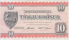 Faeroe Islands P15d -7592 10 Krónur law of 1949, VF+ WE COMBINE