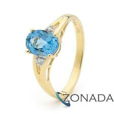 Blue Topaz Diamond 9ct 9k Solid Yellow Gold Band Ring Size P 7.75 24846/BT