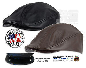 Premium Men's Gatsby/Ivy Hat Made in USA 100% Genuine Leather Black Brown NEW