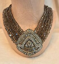 HEIDI DAUS Brown Bead Triangle Shaped NECKLACE - White SWAROVSKI Crystals