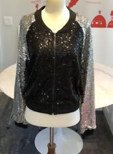Nwt Lucy Paris Cropped Fitted Sequin Bomber Jacker. M