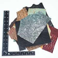 10 Pack of Croc, Gator, Snake, Ostrich, Floral Embossed Cowhide Leather Pieces