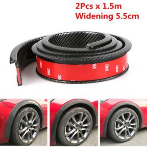 2x 1.5M Carbon Fiber Car Fender Flares Wheel Arch Moulding Strip 5.5cm Widening
