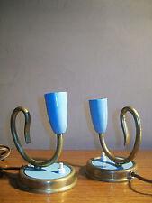 ANCIEN PAIRE 2 LAMPE LAITON Bleu clair MODERNISTE DESIGN 1960 50 60 VINTAGE