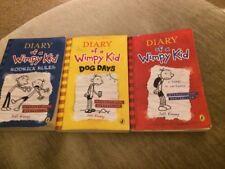 Diary of a Wimpy Kid Jeff Kinney Books x3 - Diary, Dog Days Rodrick Rules