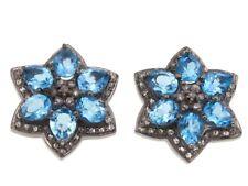 Rarities Champagne Diamond & Blue Topaz Stud Two Tone Gold Plated Black Earring