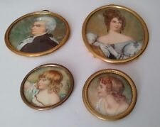 Antique French Rare Miniature Collection of a Family lady gentleman & 2 children