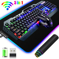 3in1 Wireless Gaming Keyboard and Mouse Combo Rainbow LED Backlit RGB Mouse pad